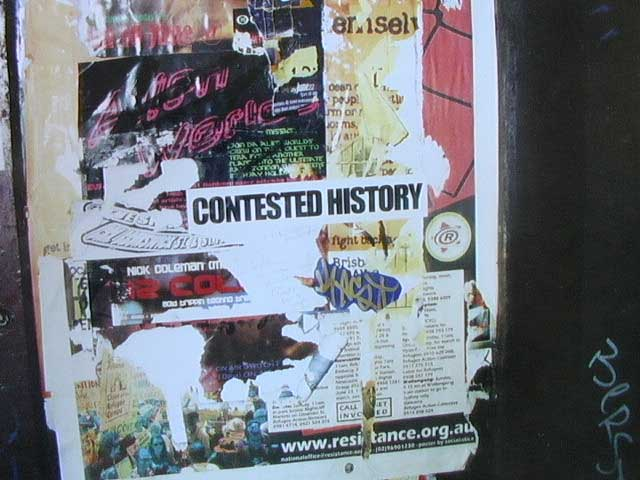 Contested History Sticker off Adelaide St, Brisbane